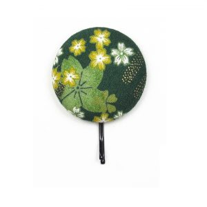 Large Hair Pin with Yellow White Japanese Flower on Dark Green