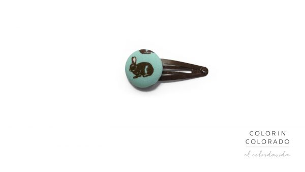 Medium Hair Clip with Brown Rabbit on Turquoise
