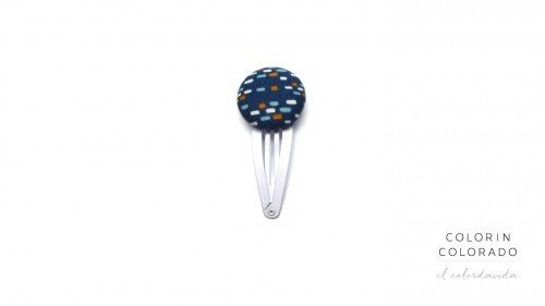 Medium Hair Clip with Colored Dots on Dark Blue
