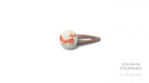 Medium Hair Clip with Fox and White Dots on Red