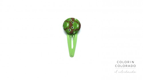 Medium Hair Clip with Green Frog on Brown