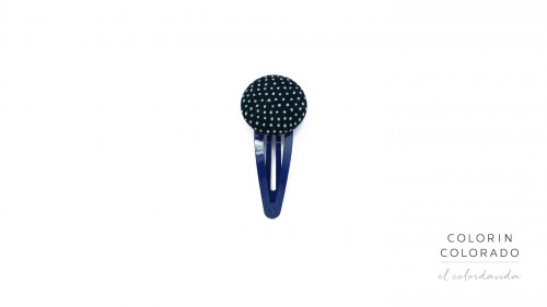 Medium Hair Clip with Grey Dots on Dark Blue