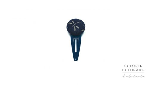 Medium Hair Clip with Grey Dragonfly on Dark Blue