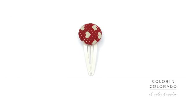 Medium Hair Clip with Grey Heart White Dots on Red
