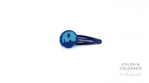 Medium Hair Clip with Light Blue Elephant on Dark Blue