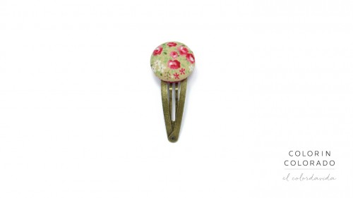 Medium Hair Clip with Pink Rose White Dots on Grey (with Golden Click)