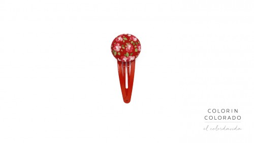 Medium Hair Clip with Pink Rose White Dots on Red A