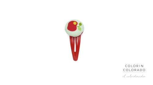 Medium Hair Clip with Red Apple on White
