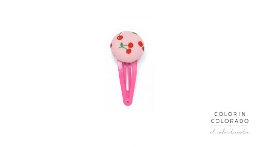 Medium Hair Clip with Red Cherries on Pink