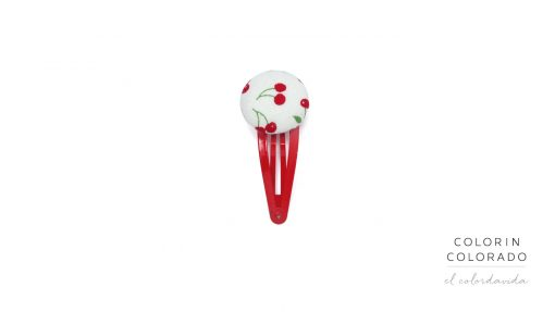 Medium Hair Clip with Red Cherries on White