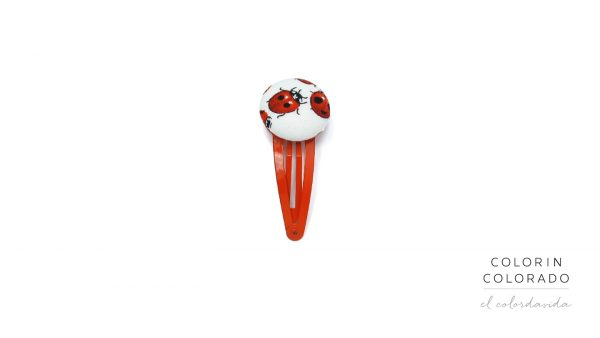 Medium Hair Clip with Red Ladybug on White