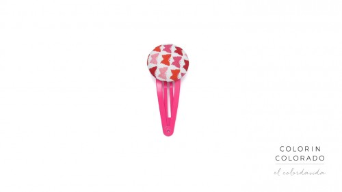 Medium Hair Clip with Red Pink Butterfly on White