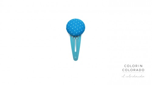 Medium Hair Clip with Small Dots on Light Blue