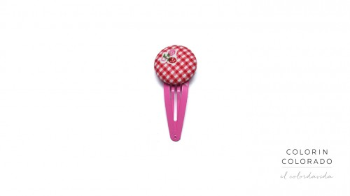 Medium Hair Clip with Strawberries on Red Gingham