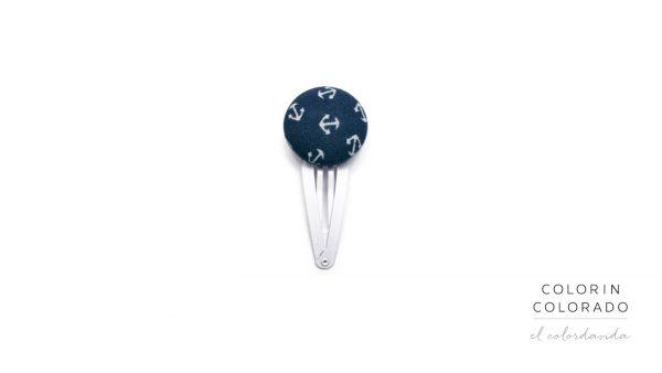 Medium Hair Clip with White Boat Anchor on Dark Blue