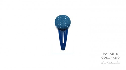 Medium Hair Clip with White Dots on Dark Blue
