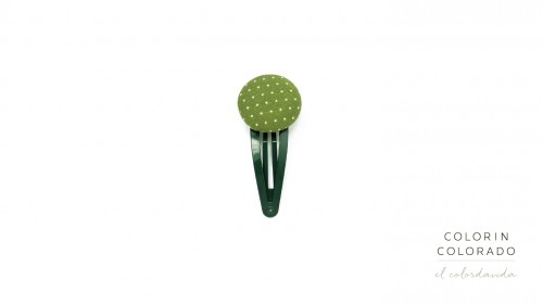 Medium Hair Clip with White Dots on Green