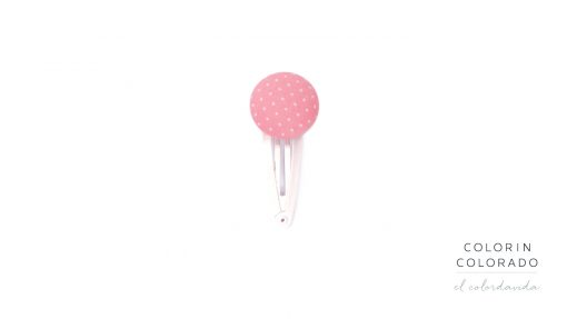 Medium Hair Clip with White Dots on Light Pink