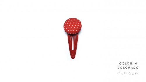Medium Hair Clip with White Dots on Red