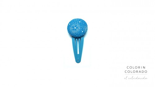 Medium Hair Clip with White Flower on Sky Blue