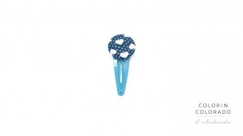 Medium Hair Clip with White Heart Big White Dots on Light Blue