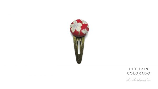 Medium Hair Clip with White Japanese Flowers on Red