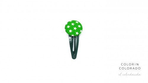 Medium Hair Clip with White Stars on Green
