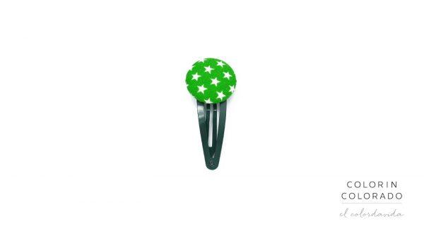Medium Hair Clip with White Stars on Green