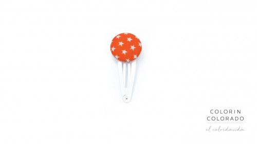 Medium Hair Clip with White Stars on Orange