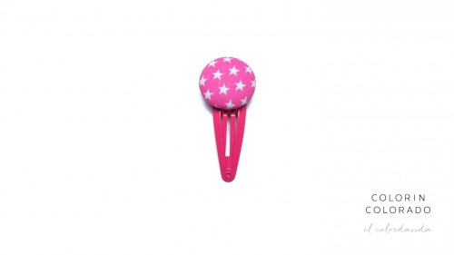 Medium Hair Clip with White Stars on Pink