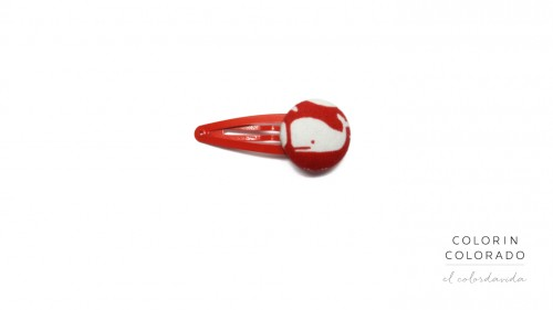Medium Hair Clip with White Whale on Red