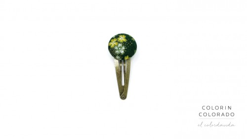 Medium Hair Clip with Yellow White Japanese Flower on Dark Green