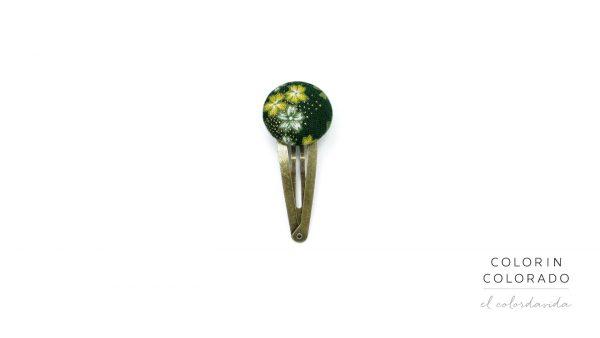 Medium Hair Clip with Yellow White Japanese Flower on Dark Green