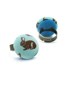Medium Ring with Brown Rabbit on Turquoise