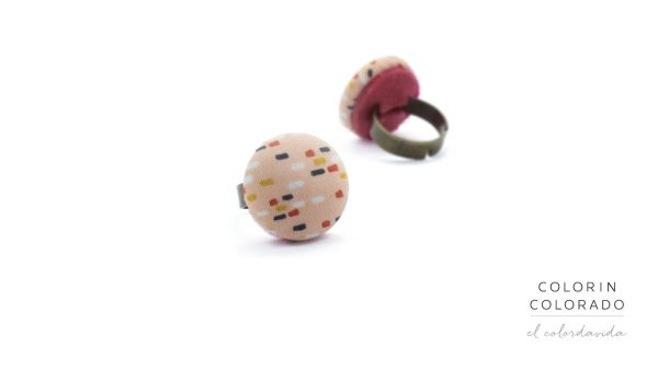 Medium Ring with Colored Dots on Light Pink