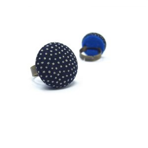 Medium Ring with Grey Dots on Dark Blue