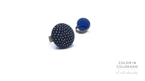 Medium Ring with Grey Dots on Dark Blue
