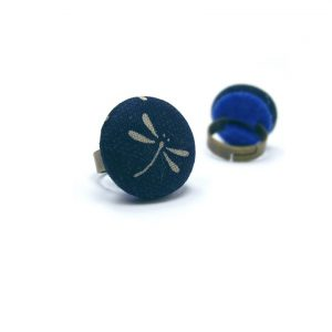 Medium Ring with Grey Dragonfly on Dark Blue