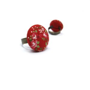 Medium Ring with Pink Rose White Dots on Red A