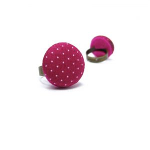 Medium Ring with White Dots on Pink