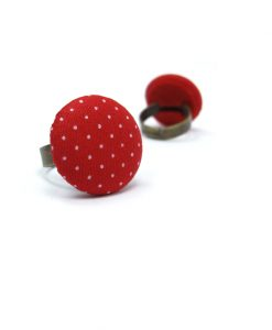 Medium Ring with White Dots on Red