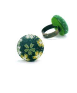 Medium Ring with White Japanese Flowers on Dark Green