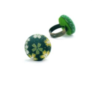 Medium Ring with White Japanese Flowers on Dark Green