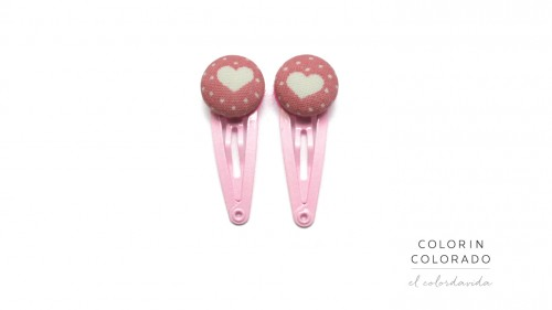 Mini Hair Clips with Big White Heart and White Dots on Light Pink