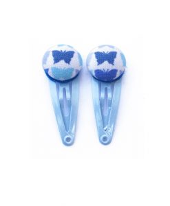 Mini Hair Clips with Blue Butterfly on White