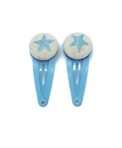 Mini Hair Clips with Blue Glitter Stars on White