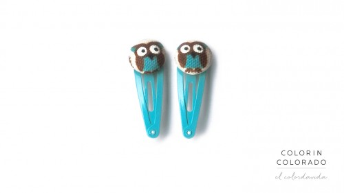 Mini Hair Clips with Blue Owl on White
