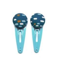 Mini Hair Clips with Colored Dots on Dark Blue