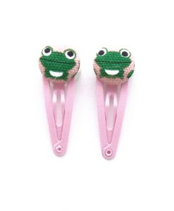 Mini Hair Clips with Green Frog on Pink