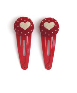Mini Hair Clips with Grey Heart White Dots on Red